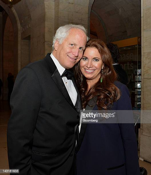 Michael Hoffman partner at Riverstone Holdings LLC and wife Jane Hoffman stand for a photograph at the Municipal Art Society Gala in New York US on...