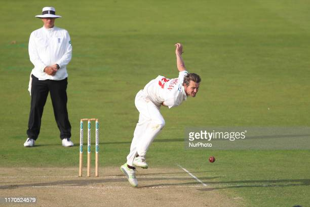 Michael Hogan of Glamorgan bowling during the Specsavers County Championship match between Durham County Cricket Club and Glamorgan County Cricket...