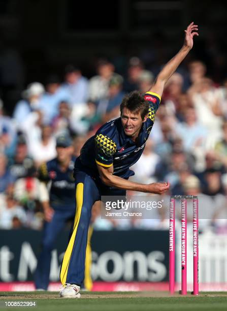 Michael Hogan of Glamorgan bowls during the Vitality Blast match between Surrey and Glamorgan at The Kia Oval on July 31 2018 in London England