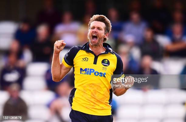 Michael Hogan of Glamorgan celebrates after taking the wicket of James Hildreth of Somerset during the Royal London One Day Cup match between...