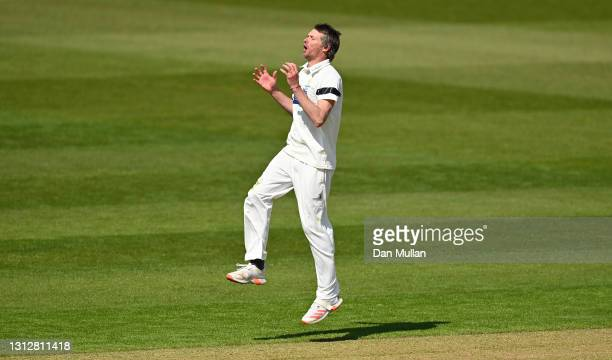 Michael Hogan of Glamorgan reacts after a near miss whilst bowling during day two of the LV= Insurance County Championship match between Glamorgan...