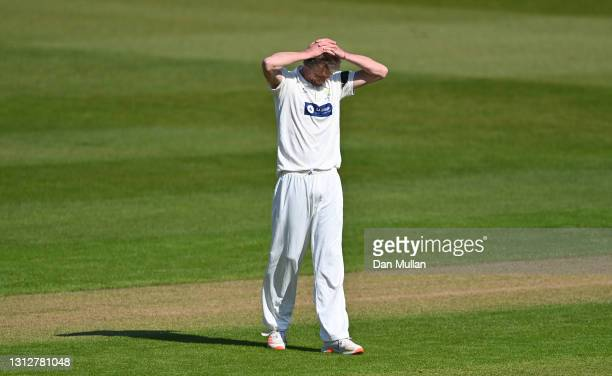 Michael Hogan of Glamorgan reacts after bowling during day two of the LV= Insurance County Championship match between Glamorgan and Sussex at Sophia...