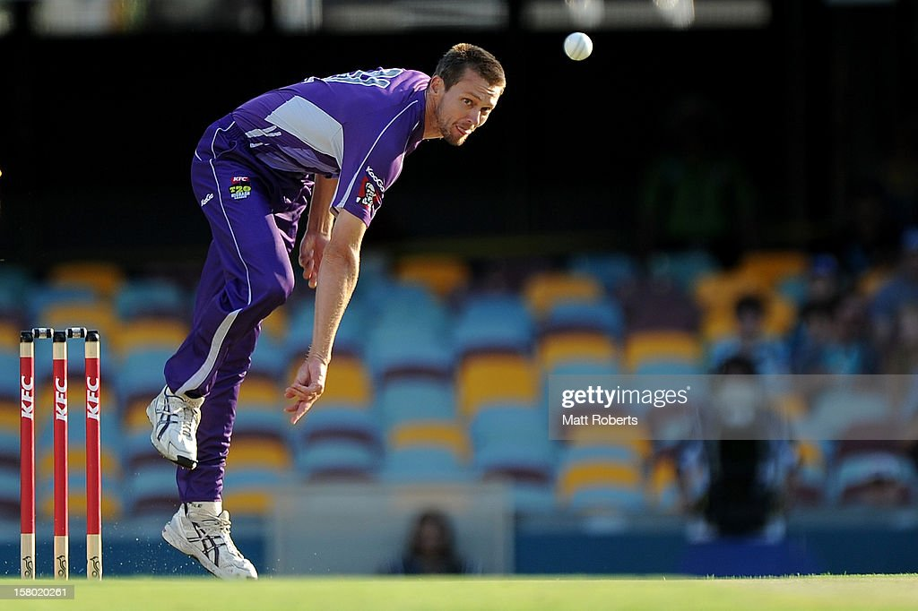 Michael Hogan of the Hurricanes bowls during the Big Bash League match between the Brisbane Heat and the Hobart Hurricanes at The Gabba on December 9, 2012 in Brisbane, Australia.