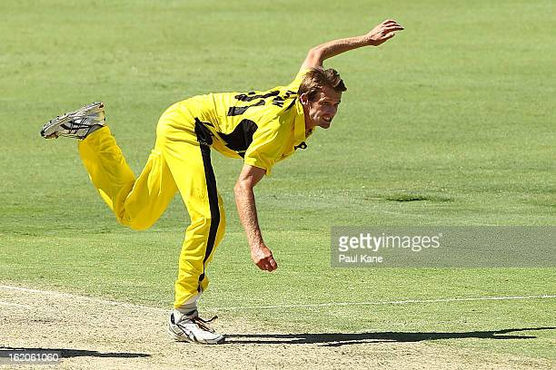 Michael Hogan of the Warriors bowls during the Ryobi One Day Cup match between the Western Australia Warriors and the Tasmanian Tigers at the WACA on...