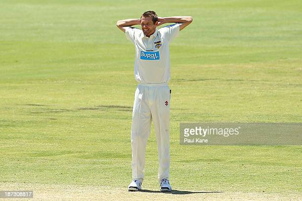 Michael Hogan of the Warriors looks on after a missed wicket opportunity during day three of the Sheffield Shield match between the Western Australia...