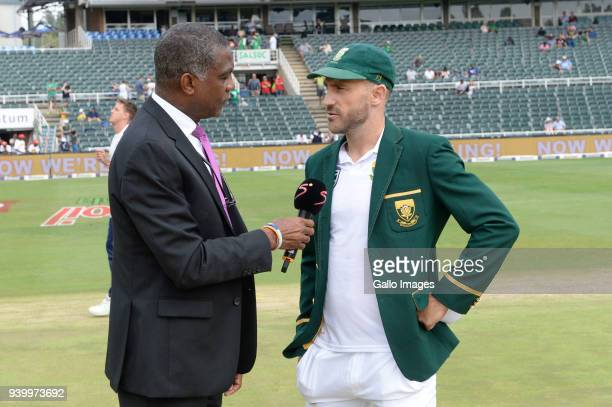 Michael Holding and Faf du Plessis of the Proteas during day 1 of the 4th Sunfoil Test match between South Africa and Australia at Bidvest Wanderers...