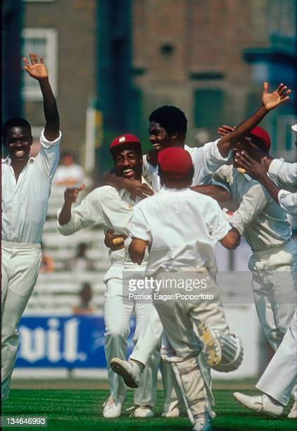 Michael Holding celebrates the dismissal of Tony Greig England v West Indies 5th Test The Oval Aug 1976