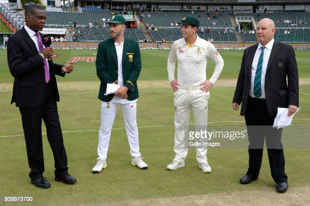 Michael Holding Faf du Plessis of the Proteas Tim Paine of Australia and Match Referee Andy Pycroft during day 1 of the 4th Sunfoil Test match...