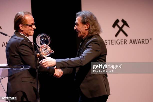 Michael Holm musician hands out the music award to musician Albert Hammond during the Steiger Award on at Coal Mine Hansemann Alte Kaue March 25 2017...