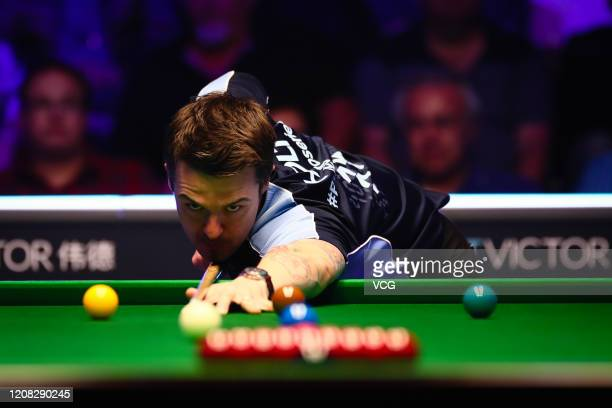 Michael Holt of England plays a shot during the final match against Yan Bingtao of China on day four of the 2020 BetVictor Snooker Shoot Out at the...