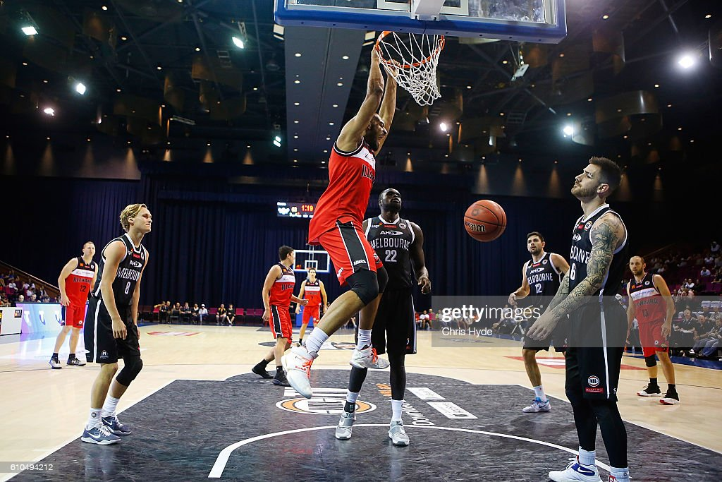 Michael Holyfield of the Hawks dunks during the Australian Basketball Challenge match between Illawarra Hawks and Melbourne United at Brisbane Convention and Exhibition Centreon September 26, 2016 in Brisbane, Australia.
