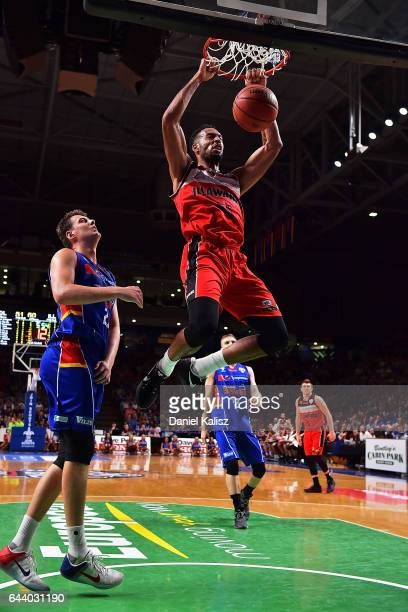 Michael Holyfield of the Illawarra Hawks dunks during game three of the NBL Semi Final series between the Adelaide 36ers and the Illawarra Hawks at...