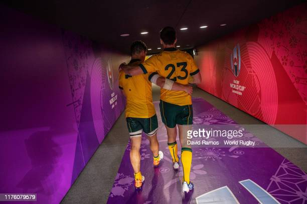 Michael Hooper and Dane Haylett-Petty of Australia leave the pitch after the Rugby World Cup 2019 Group D game between Australia and Fiji at Sapporo...