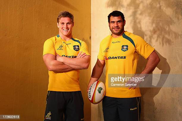 Michael Hooper and George Smith of the Wallabies pose prior to an Australian Wallabies media session at the Shangri la Hotel on July 4 2013 in Sydney...