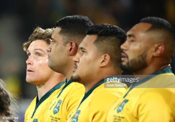 Michael Hooper and the Wallabies stand for the national anthem during the International test match between the Australian Wallabies and Ireland at...