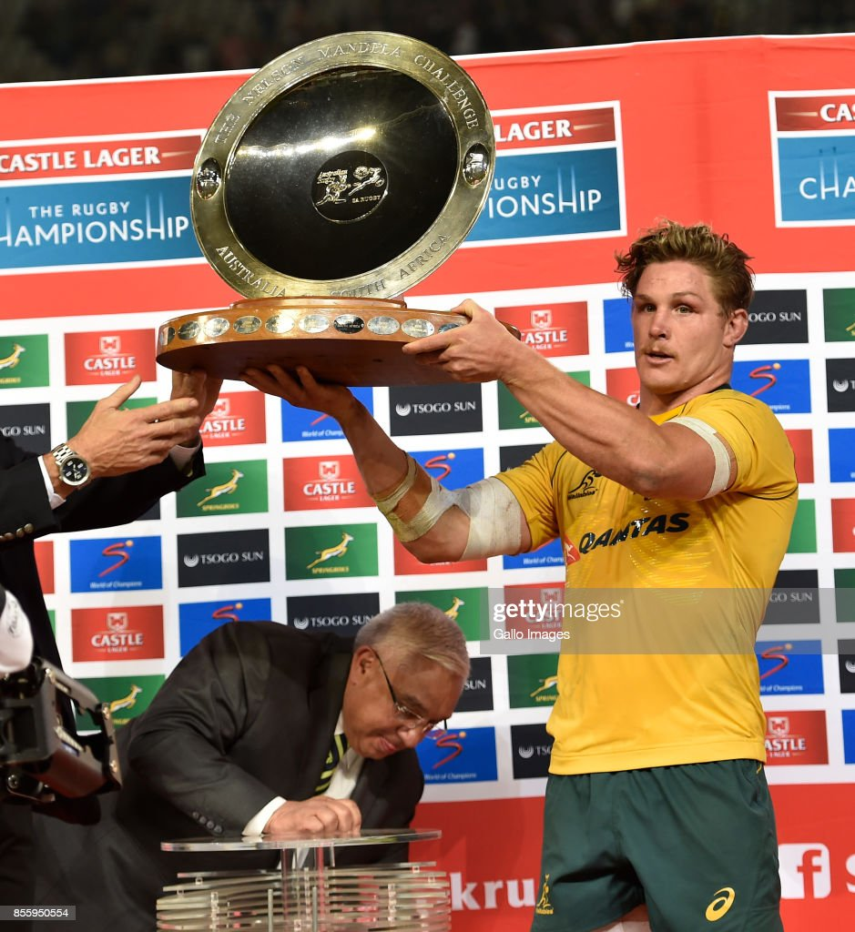 Michael Hooper, Captain of the Wallabies lifts the Mandela Challenge Plate during the Rugby Championship 2017 match between South Africa and Australia at Toyota Stadium on September 30, 2017 in Bloemfontein, South Africa.