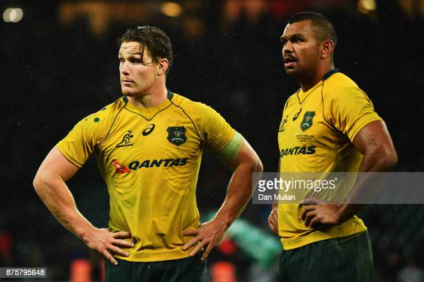 Michael Hooper of Australia and Kurtley Beale look on during the Old Mutual Wealth Series match between England and Australia at Twickenham Stadium...