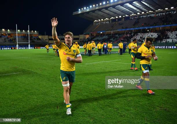 Michael Hooper of Australia celebrates victory after the international friendly between Italy and Australia at Stadio Euganeo on November 17 2018 in...