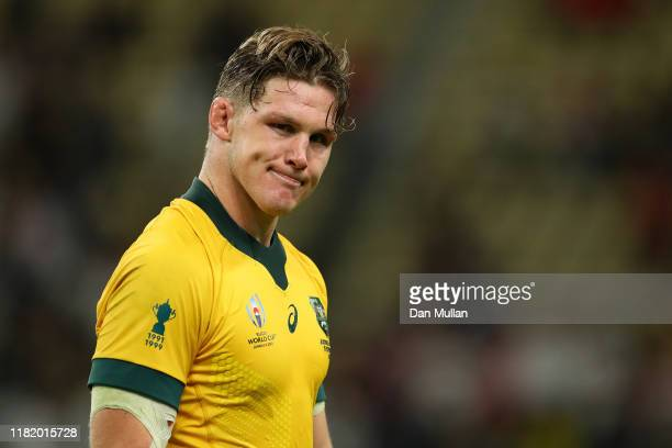 Michael Hooper of Australia looks dejected in defeat after the Rugby World Cup 2019 Quarter Final match between England and Australia at Oita Stadium...