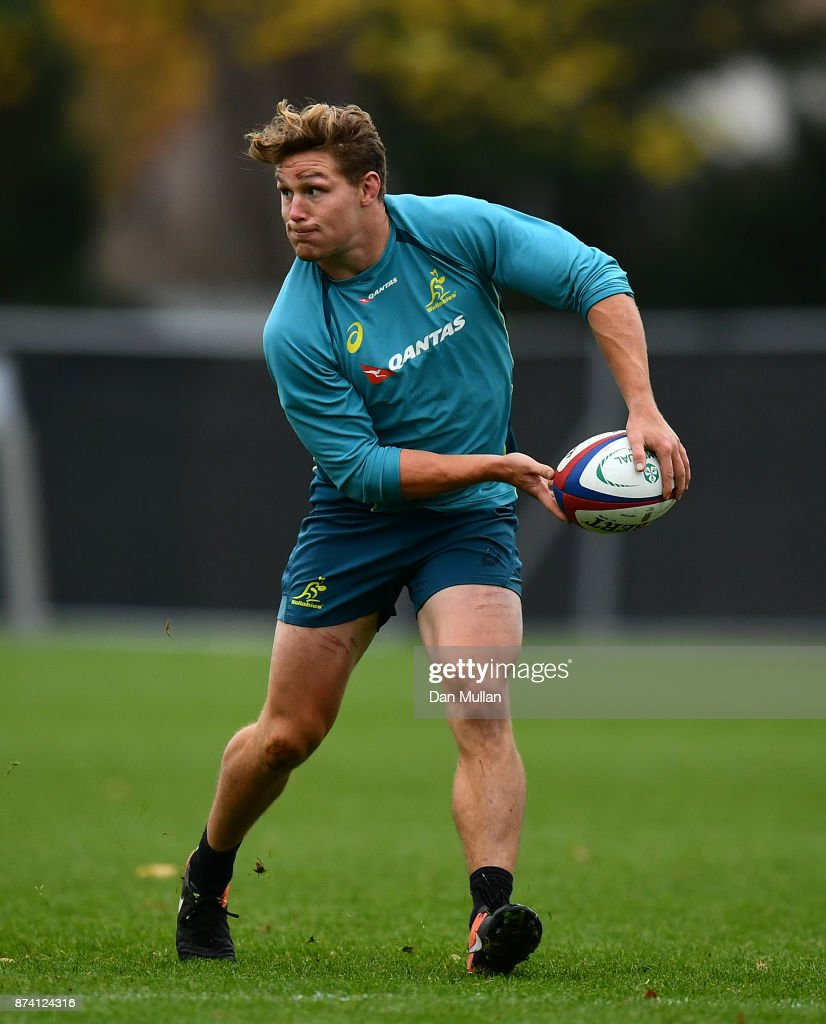 Michael Hooper of Australia looks for a pass during a training session at the Lensbury Hotel on November 14, 2017 in London, England.