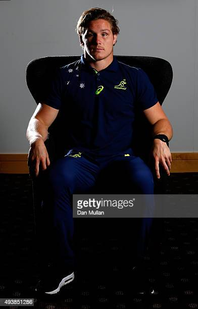 Michael Hooper of Australia poses for a portrait during an Australia media session at The Lensbury Hotel on October 23 2015 in London United Kingdom