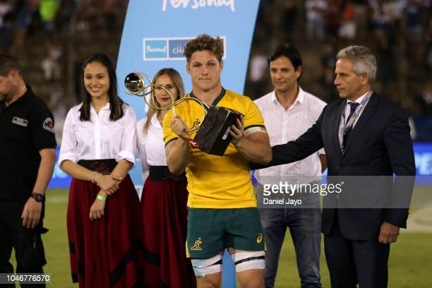 Michael Hooper of Australia poses with the trophy at the end of a match between Argentina and Australia as part of The Rugby Championship 2018 at...