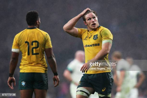 Michael Hooper of Australia reacts to recieving a yellow card during the Old Mutual Wealth Series match between England and Australia at Twickenham...
