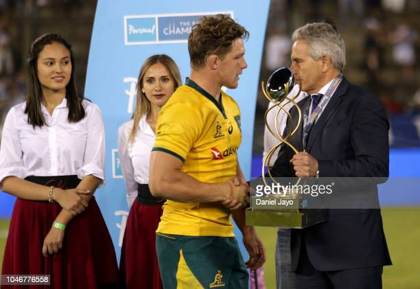Michael Hooper of Australia receives the trophy at the end of a match between Argentina and Australia as part of The Rugby Championship 2018 at...