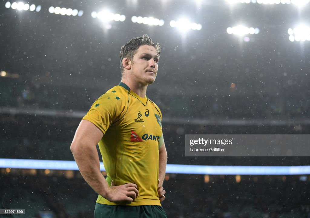 Michael Hooper of Australia shows his disappointment after defeat in the Old Mutual Wealth Series match between Engalnd and Australia at Twickenham Stadium on November 18, 2017 in London, England.
