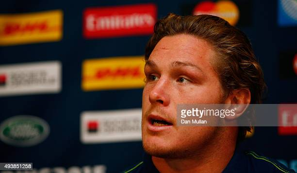 Michael Hooper of Australia speaks to the media during an Australia media session at The Lensbury Hotel on October 23 2015 in London United Kingdom