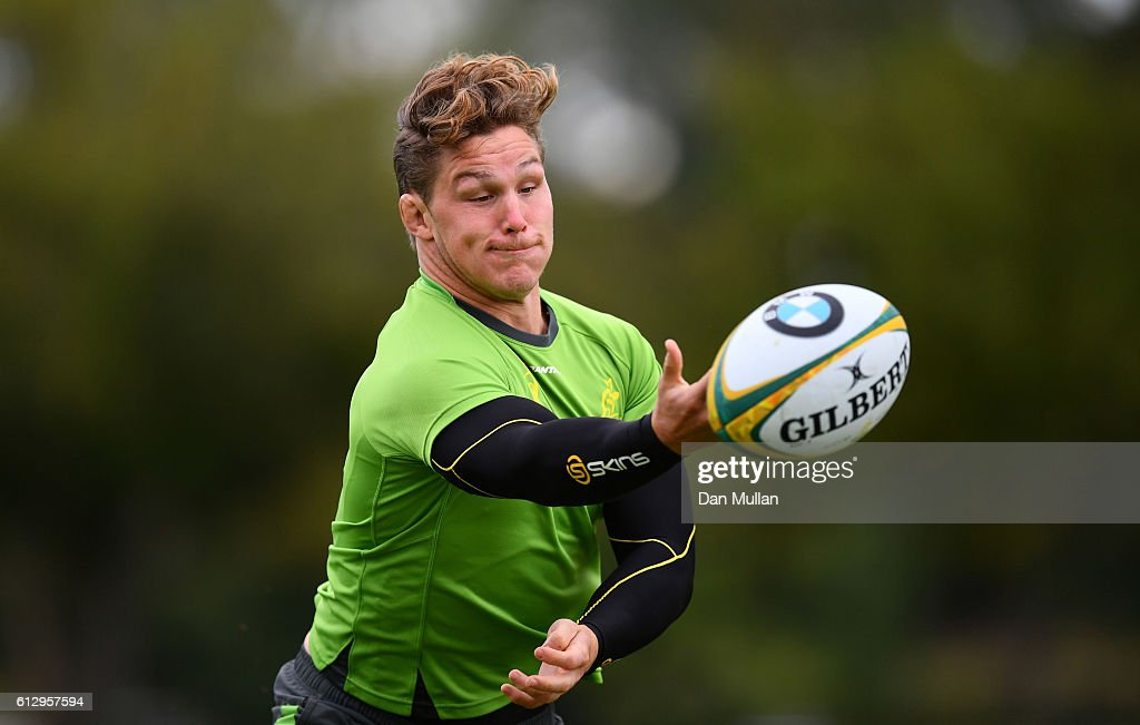 Michael Hooper of Australia stretches to gather the ball during an Australia training session at The Lensbury Hotel on October 6, 2016 in London, United Kingdom.