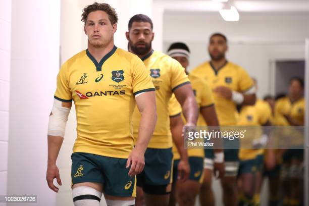 Michael Hooper of the Australian Wallabies leads the team out during The Rugby Championship game between the New Zealand All Blacks and the Australia...