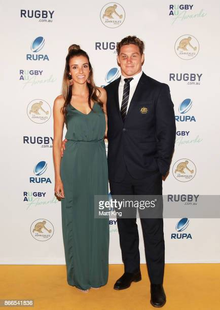 Michael Hooper of the Wallabies and partner Kate Howard arrive ahead of the 2017 Rugby Australia Awards at Royal Randwick Racecourse on October 26...