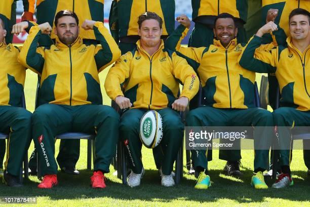 Michael Hooper of the Wallabies and team mates pose to rasie awareness for former Wallabies player Richard Tombs, during an Australian Wallabies...