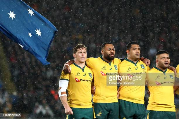 Michael Hooper of the Wallabies and team mates sing the Australian national anthem during The Rugby Championship and Bledisloe Cup Test match between...