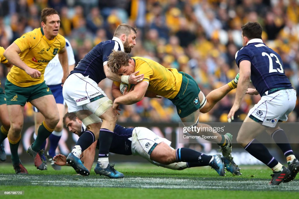 Michael Hooper of the Wallabies breaks through the Scotland defence during the International Test match between the Australian Wallabies and Scotland at Allianz Stadium on June 17, 2017 in Sydney, Australia.
