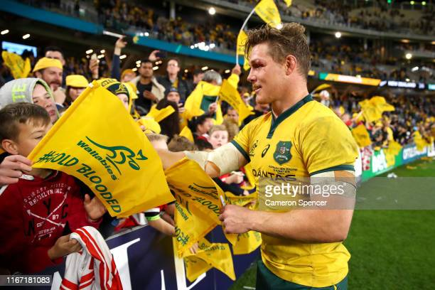 Michael Hooper of the Wallabies celebrates with fans after winning the 2019 Rugby Championship Test Match between the Australian Wallabies and the...
