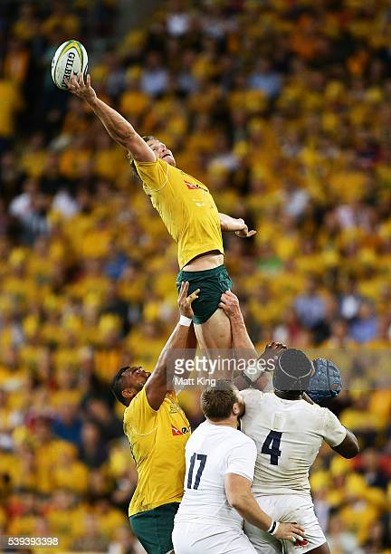 Michael Hooper of the Wallabies jumps at the lineout during the International Test match between the Australian Wallabies and England at Suncorp...