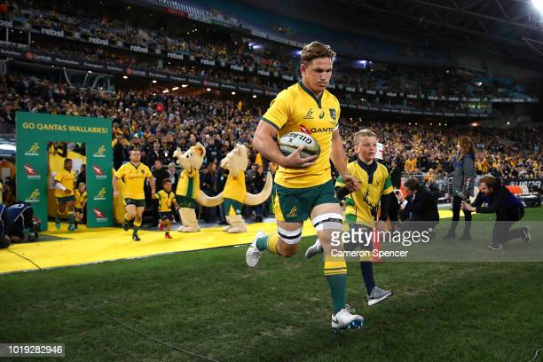 Michael Hooper of the Wallabies leads team mates onto the field during The Rugby Championship Bledisloe Cup match between the Australian Wallabies...