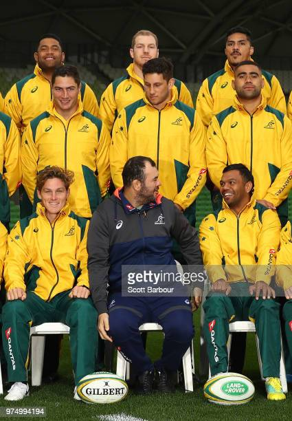 Michael Hooper of the Wallabies Michael Cheika Coach of the Wallabies and Kurtley Beale of the Wallabies look on during the team photo during an...