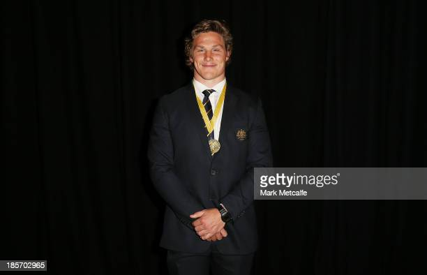Michael Hooper of the Wallabies poses with the John Eales Medal during the 2013 John Eales Medal at Sydney Convention Exhibition Centre on October 24...