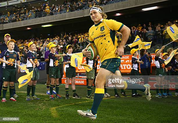 Michael Hooper of the Wallabies runs onto the field as captain before the second International Test Match between the Australian Wallabies and France...