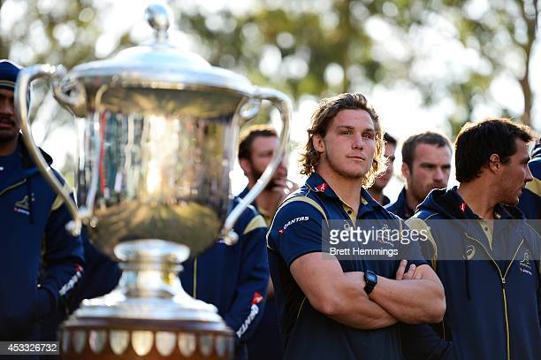 Michael Hooper of the Wallabies stands infront of the Bledisloe Cup during an Australian Wallabies fan day event at The Mondo on August 8 2014 in...