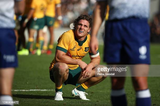Michael Hooper of the Wallabies waits for a TMO decision during the Bledisloe Cup match between the New Zealand All Blacks and the Australian...