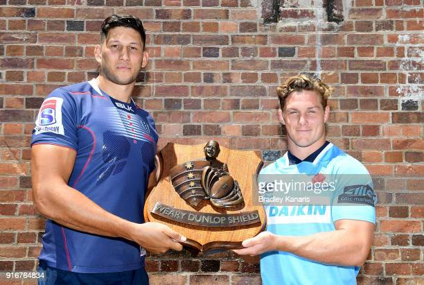 Michael Hooper of the Waratahs and Adam Coleman of the Rebels pose for a photo during the 2018 Super Rugby Season Launch at Brisbane Powerhouse on...