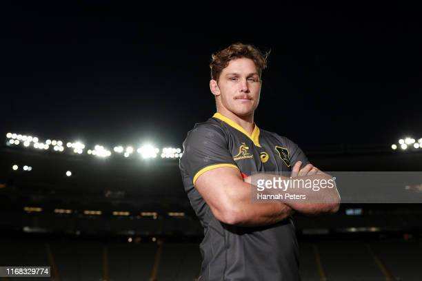 Michael Hooper poses for a portrait following the Wallabies captain's run at Eden Park on August 16 2019 in Auckland New Zealand