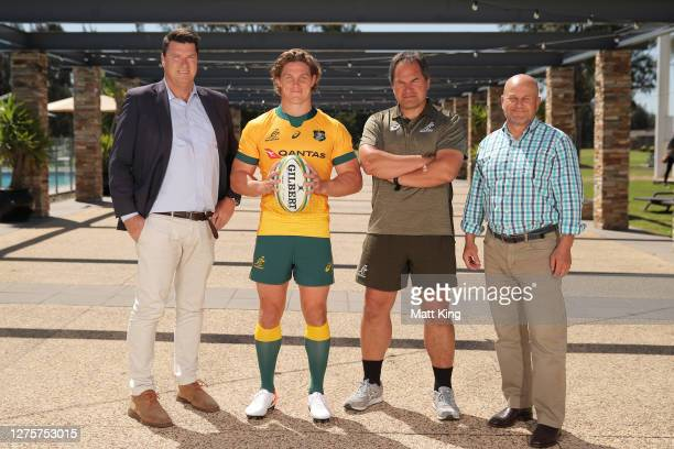 Michael Hooper poses with Rugby Australia Chairman Hamish McLennan, Wallabies coach Dave Rennie and Interim Rugby Australia CEO Rob Clarke after...