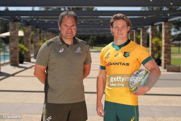 Michael Hooper poses with Wallabies coach Dave Rennie after being announced as the Wallabies captain during a Wallabies media opportunity at Crowne...
