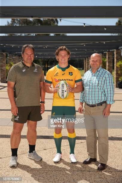 Michael Hooper poses with Wallabies coach Dave Rennie and Interim Rugby Australia CEO Rob Clarke after being announced as the Wallabies captain...