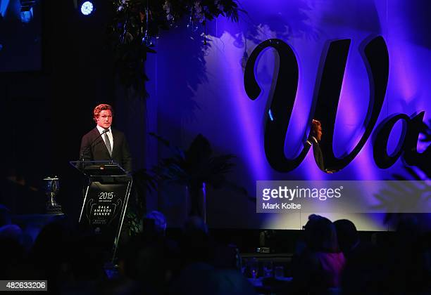 Michael Hooper speaks to the crowd after being announced the winner of the Matt Burke Cup at the NSW Waratahs Awards Night at Royal Randwick...